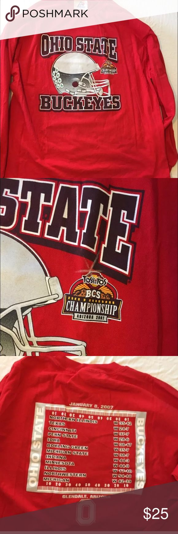 OHIO STATE 2007 Tostitos BOWL LONG SLEEVE RED XL Long sleeve shirt with team schedule and score on the back. Shirts Tees - Long Sleeve