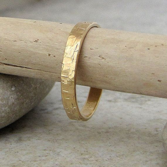 Gorgeous! Wedding Band Mens Gold Wedding Ring Hammered Gold by GoldSmack