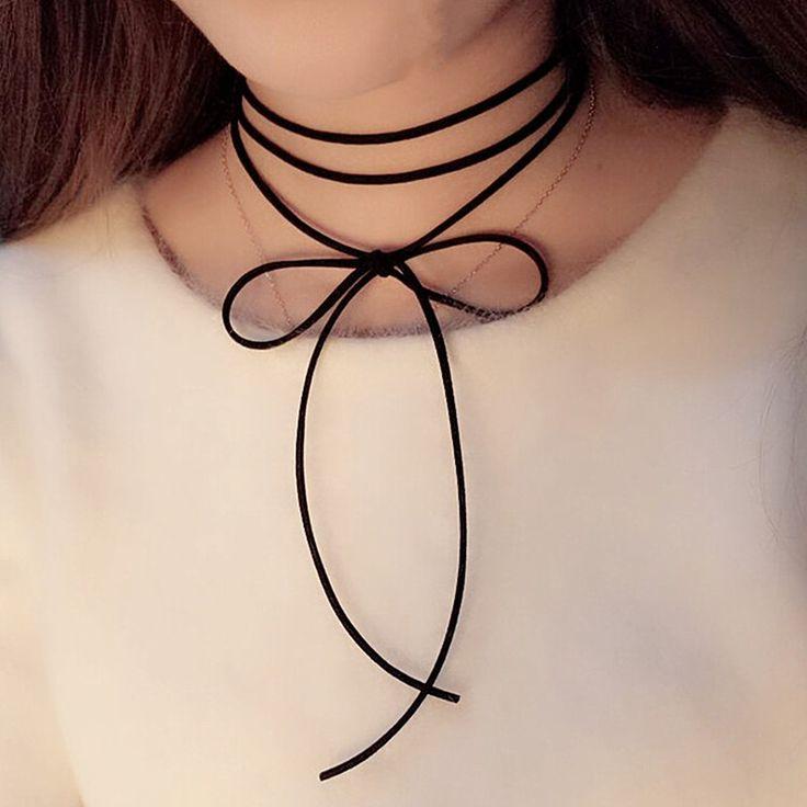 뜨거운 블랙 스트랩 choker 긴 검은 가죽 로프 목걸이 목걸이 새로운 유행 여자 보석 150 센치메터 블랙 x169