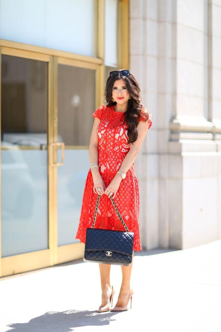 Wednesday, June 29, 2016 The Most Flattering Dress + Wedding Guest Dress Idea - DRESS: Parker | PUMPS: Christian Louboutin | SUNGLASSES: Quay | HANDBAG: Chanel | LIPS: 'Redd' + 'Heat Wave' | WATCH: Michele | EARRINGS: Vintage Chanel | RING: David Yurman