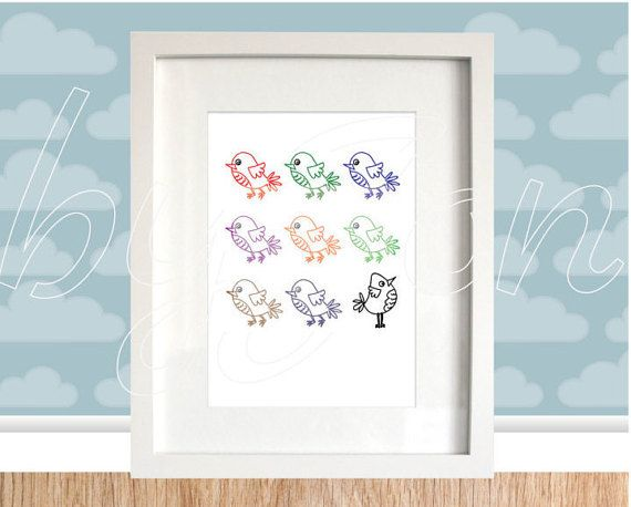 Instant Download 9 bird poster cute nursery art clipart. Multi-coloured colourful. HIgh resolution ready to print