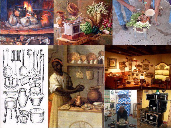 Imágenes que muestran: fogones, anafres, utensilios de cocina españoles, mujer usando el molinillo, recreación de cocina colonial mexicana e...
