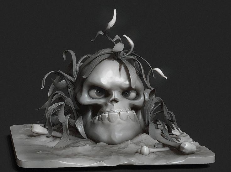 ArtStation - Skull and flowers (time lapse), Pavel Terekhov