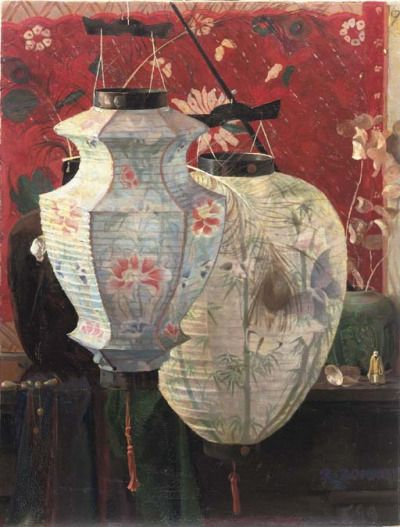 blastedheath:  Rudolf Bonnet (Dutch, 1895-1978), A still life with Chinese lanterns, 1919. Oil on canvas, 88.5 x 68cm.