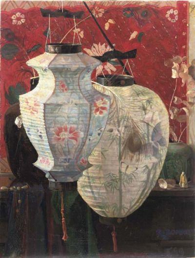Rudolf Bonnet , A still life with Chinese lanterns, 1919