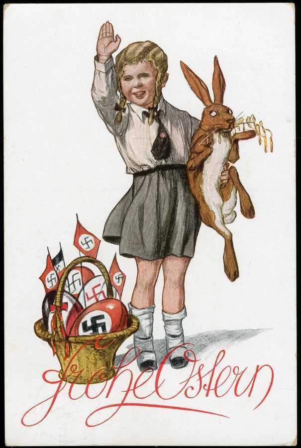 Ostern 1933, mehrfarbige Oster-Grußkarte mit propagandistischer Darstellung, Mädchen in Uniform mit Hitlergruß und Hakenkreuze auf Ostereiern und Fähnchen, echt gelaufen, Ecken teils ger. bestoßen