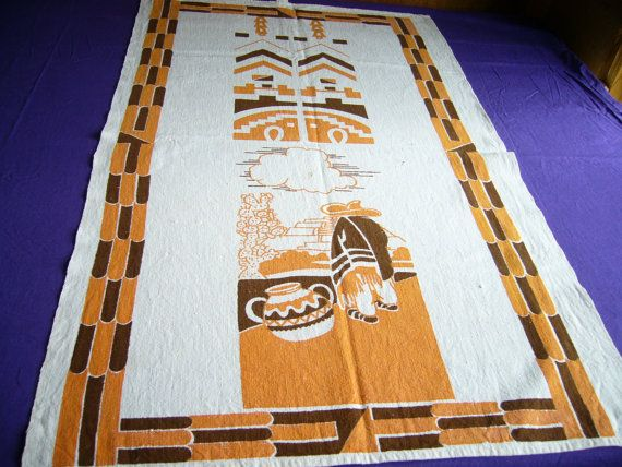 Rare Startex Cotton-Linen Tea Towel Dishtowel, Mexican Cactus Tribal Abstract Midcentury