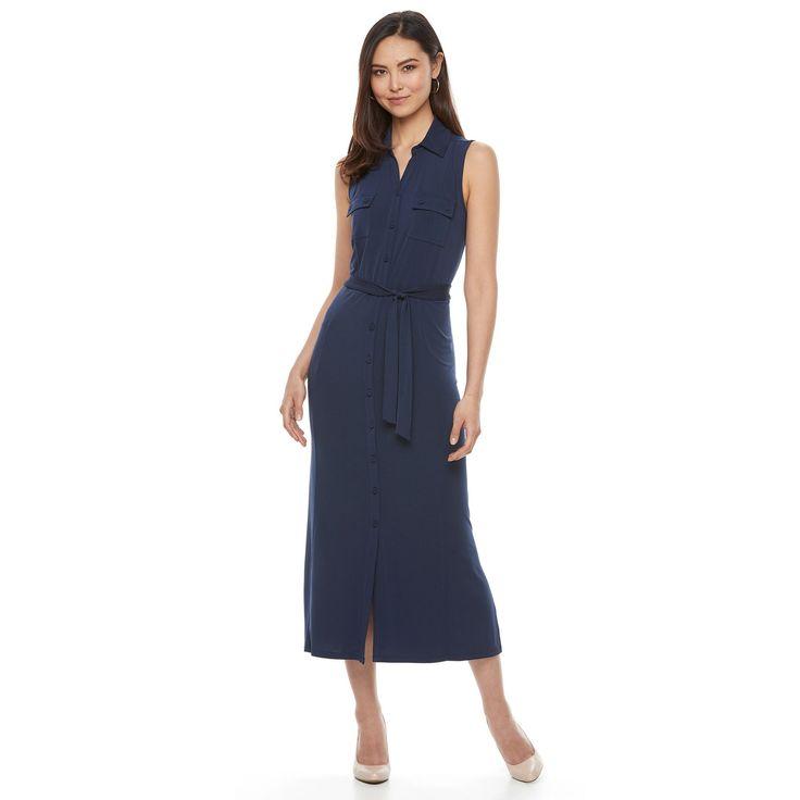 Women's Dana Buchman Midi Shirtdress, Size: Medium, Blue