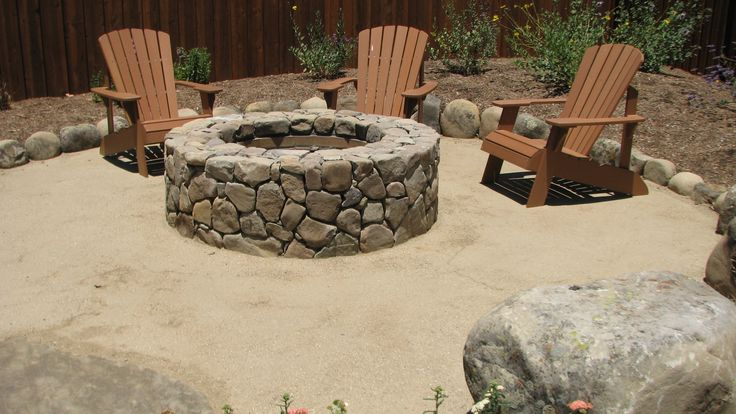 Stone Fire Pit in decomposed granite patio. The Essential Garden