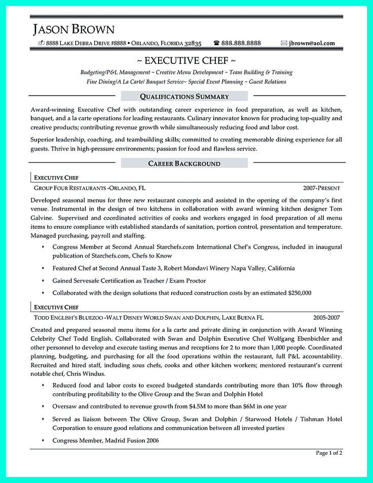 Chef Resume Example | Example Resume And Resume Objective Examples