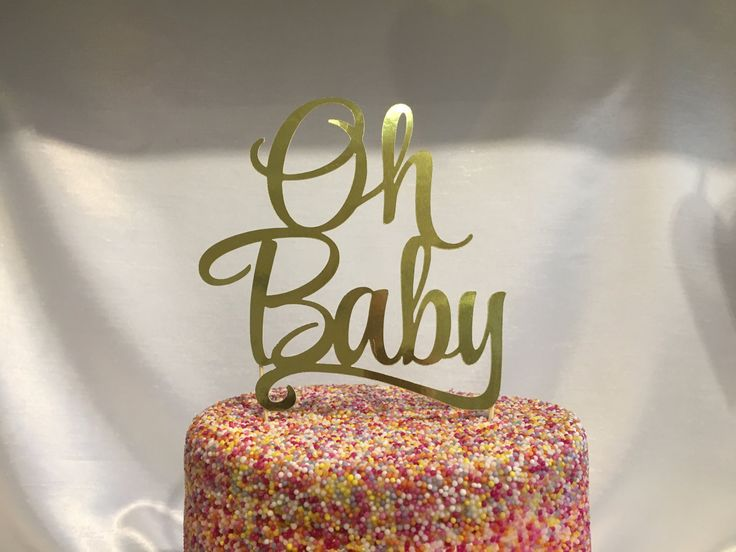 Oh Baby Gold Foil Card or Gold Glitter Card Cake Pick Topper Machine Cut by CraftworkGB on Etsy