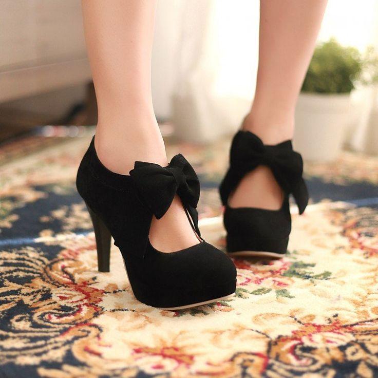 Bow High Heels Platform Pumps Women Shoes 1984