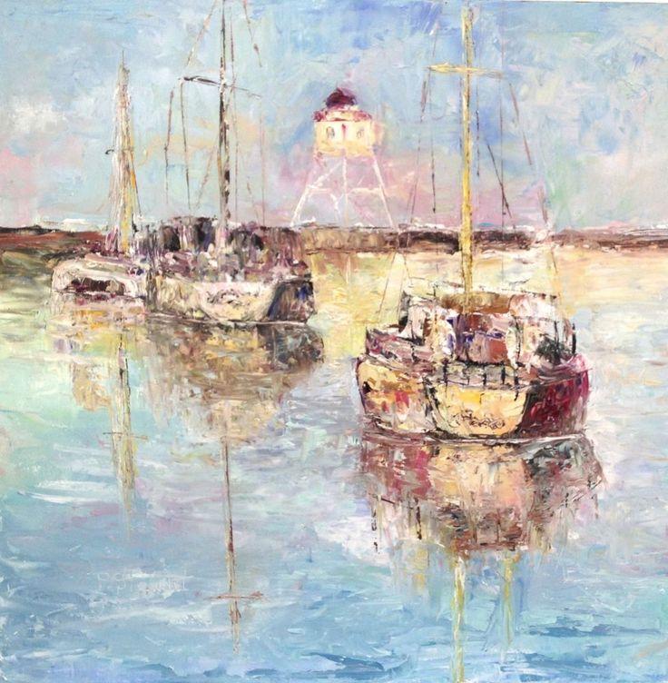 Sailboats Seascape 12x12 Original Oil Palette Knife #Painting Penny Lee StewArt #Impressionism
