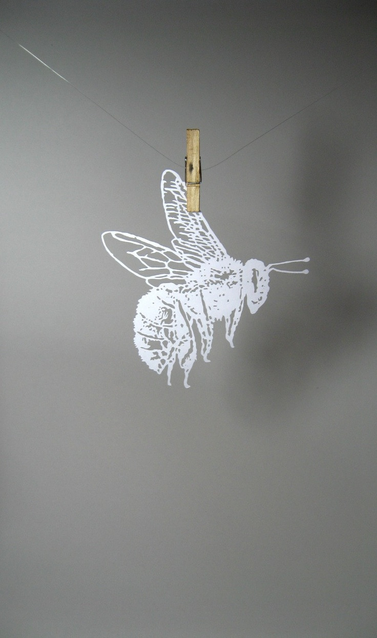 Bumble Bee paper-cut Scherenschnitte in White by Catfriendo-that would be a nice stencil on the wall