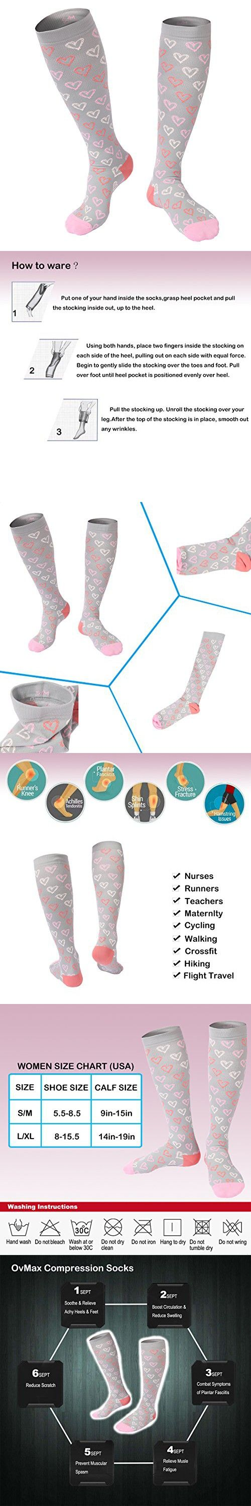 Compression Socks for Women Best For Sports,Flight Travel,Running,Nursing,Pregnancy,Promote Blood Circulation,Relief Heel,Ankle Pain-1 Pair (L/XL, Grey)