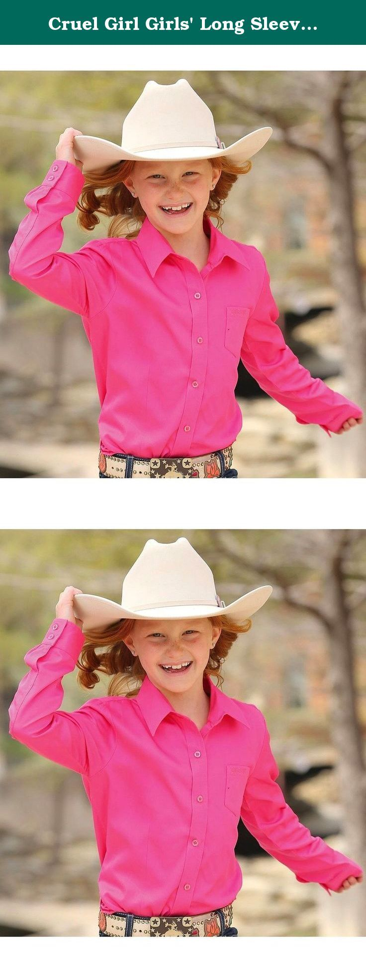 "Cruel Girl Girls' Long Sleeve Button Up Top Pink Large. A classic button-up shirt for your little cowgirl by Cruel Girl This solid pink shirt features embroidered ""Cruel Girl"" text at the left chest pocket. Cotton twill material. Imported."