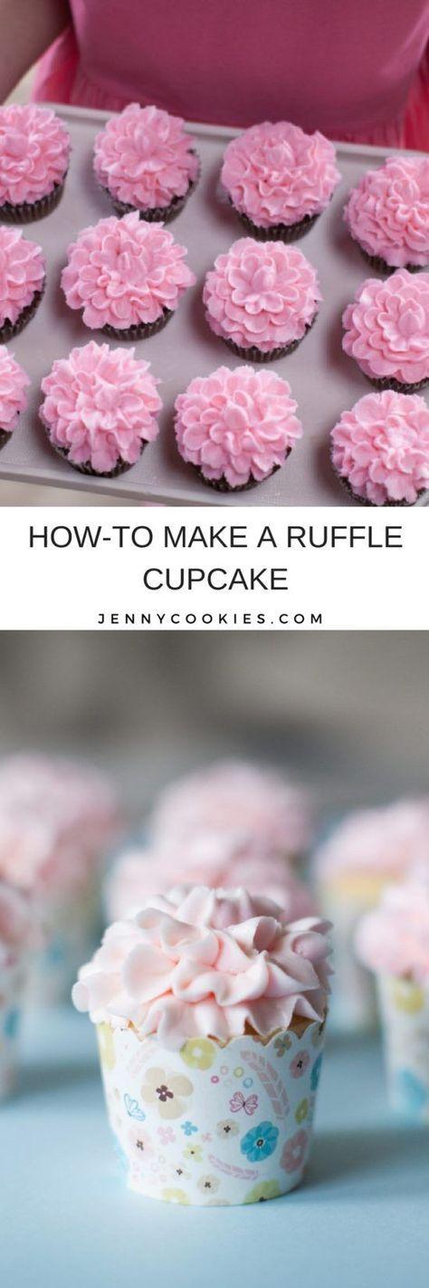 How to Make Ruffle Flower Cupcakes | easy cupcake tutorials | diy cupcake recipes | how to decorate a cupcake | icing flower tutorial | cupcake decorating ideas || JennyCookies.com #flowercupcakes #cupcakedecor #diycupcakes