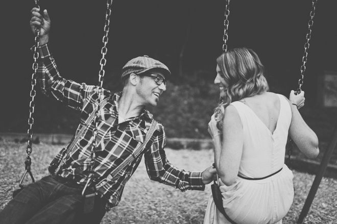 Playful & Intimate Beach, Bicycles & Swings Engagement Shoot
