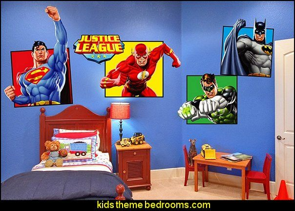 justice league wall decals superheroes bedroom ideas batman spiderman superman decor captain america comic book bedding batmobile bed wonder