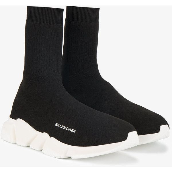 Balenciaga speed trainers ($635) ❤ liked on Polyvore featuring men's fashion, men's shoes, men's sneakers, mens black and white shoes, balenciaga mens sneakers and balenciaga mens shoes