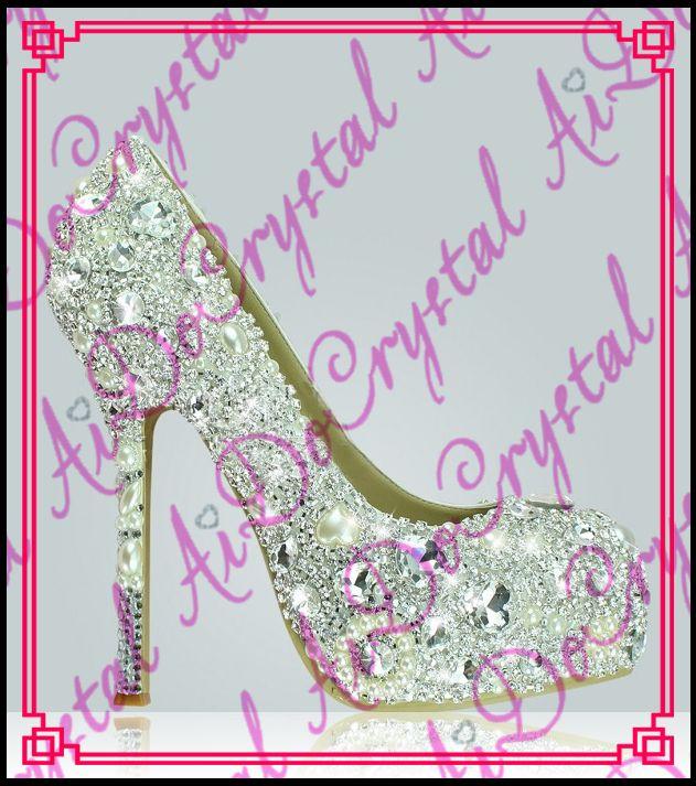 Aidocrystal handgemachte strass kristall high heels frauen weiß brauthochzeitsschuhe //Price: $US $228.00 & FREE Shipping //     #cocktailkleider