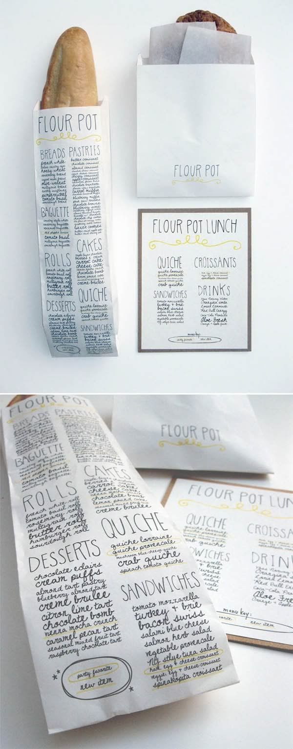 Put a bread roll in a white paper bag with the menu written on it just like this for a cute wedding idea :)