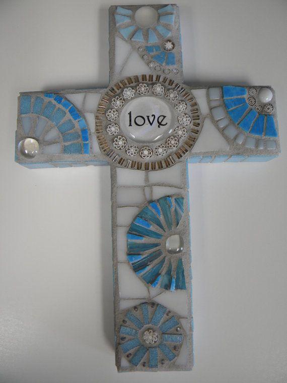 Baby Blue Love Mosaic Cross by TheMosartStudio on Etsy, $44.00