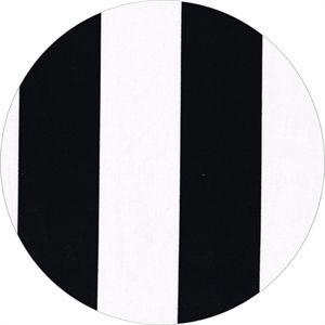 Stof med brede striber i sort og hvid