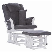 Stork Craft Custom Tuscany Glider and Ottoman - White Finish with Grey Cushions @ Babies R Us