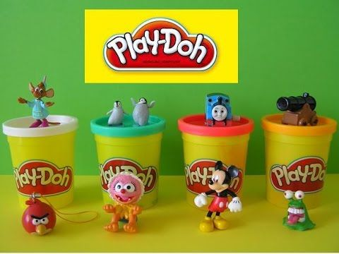 Play Doh 8 Surprise Eggs Cinderella Angry Birds Muppets Mickey Mouse Happy Feet Thomas Monster - YouTube