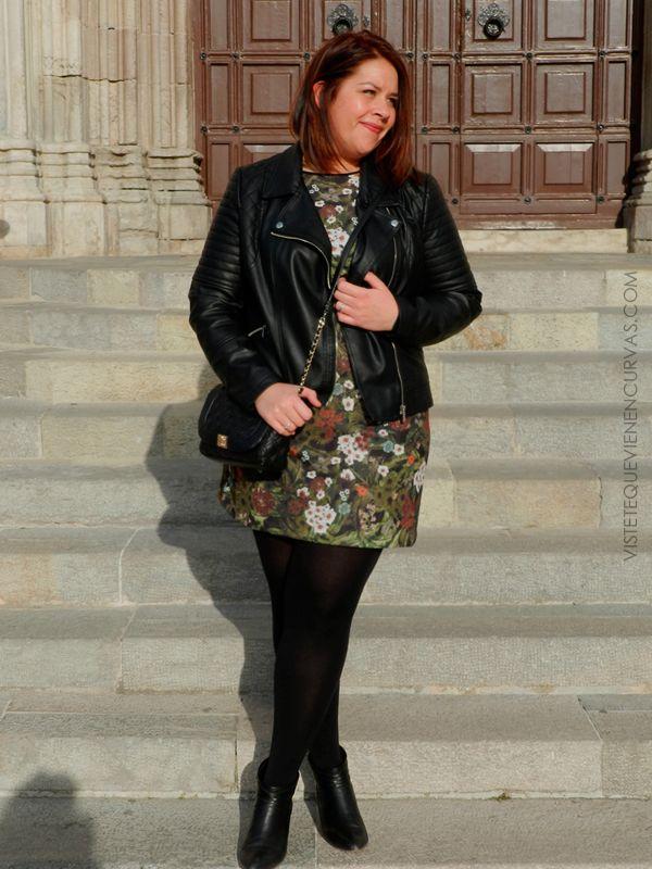 vestido estampado & complementos en negro - inspiracion (VÍSTETE QUE VIENEN CURVAS)