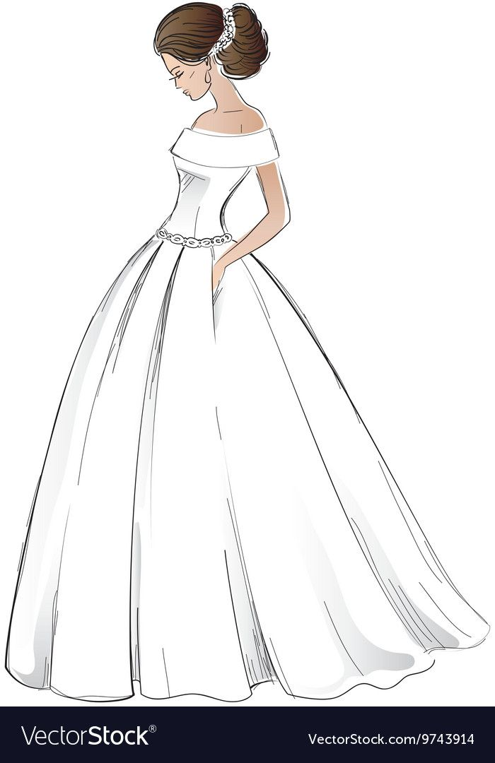 Sketch Of Young Bride Model In Wedding Dress With Pretty Hair Style Freehand Isolated On White Download A Free Preview Or High Dress Vector Bride Young Bride