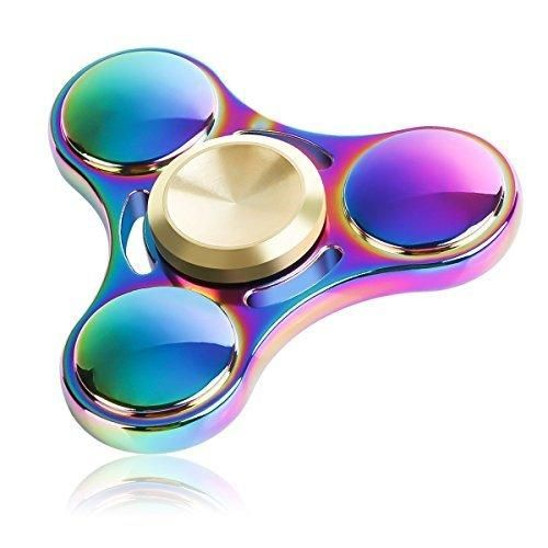 Urberry Fidget Spinner Toy Premium Quality Stress Reducer Hand Spinner Anxiety Relieves Boredom Metal Cube Bearing Rainbow Color (Rainbow Metal)