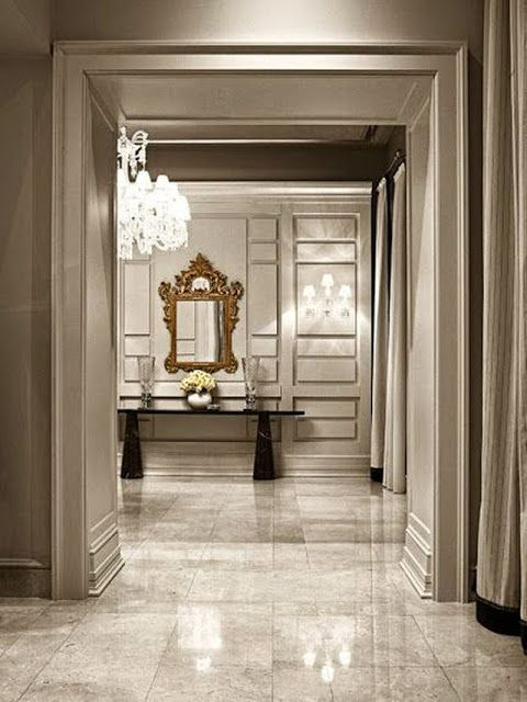 Beautiful Large Open Foyer Marble Tile Floors Huge Crystal