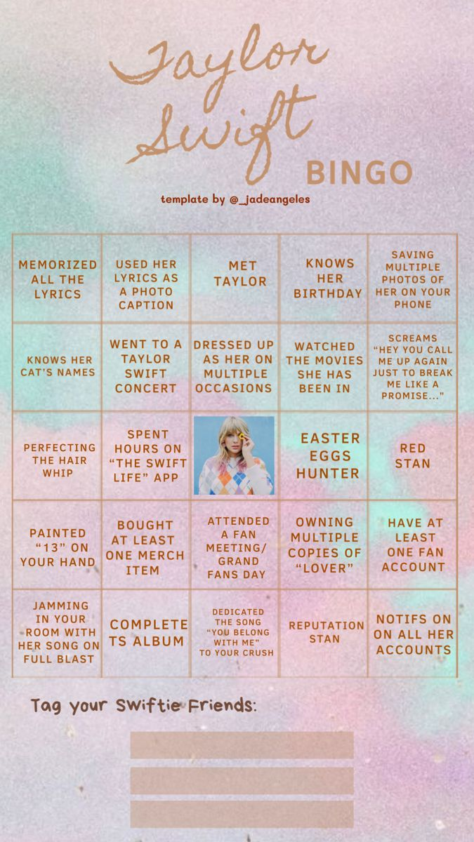 Taylor Swift • BINGO! di 2020