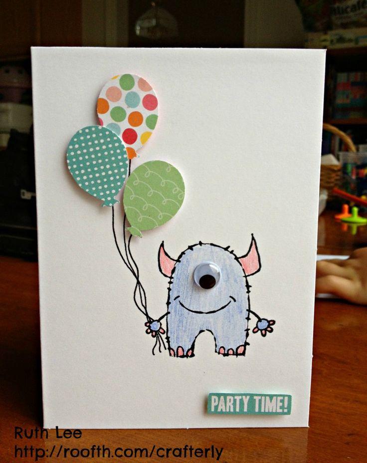 Geburtstagskarte mit einem Monster und Ballons - nicht nur für einen Jungen