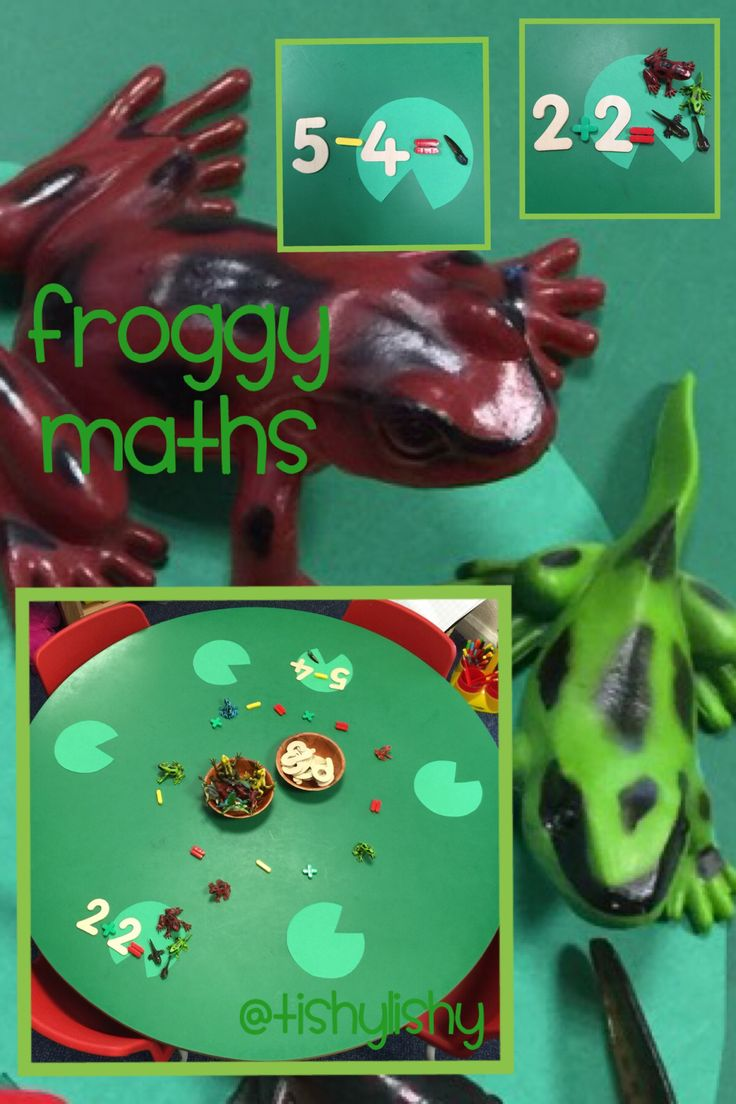 Froggy maths. A set up for an adult led activity exploring addition and subtraction