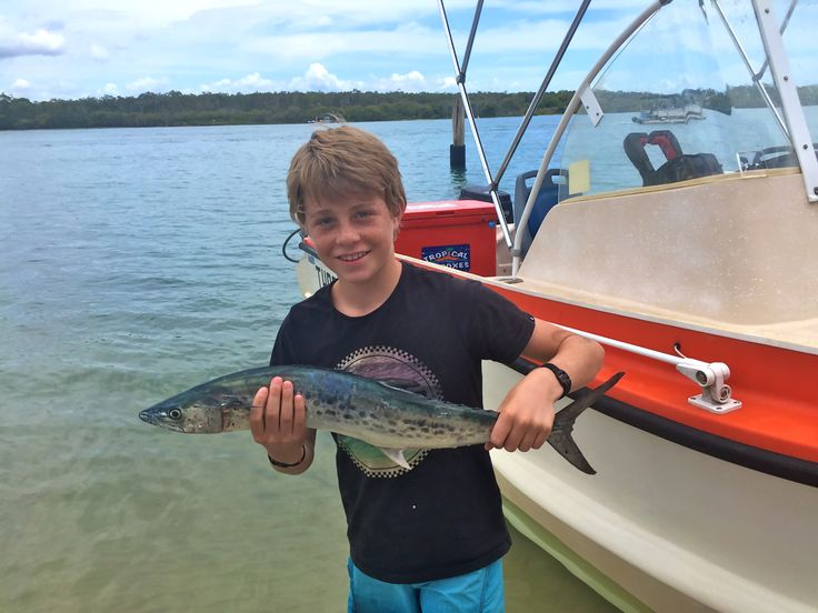 Patty with the Mackeral he reeled in when the rod he was standing next too started screaming ha ha ...well done son.
