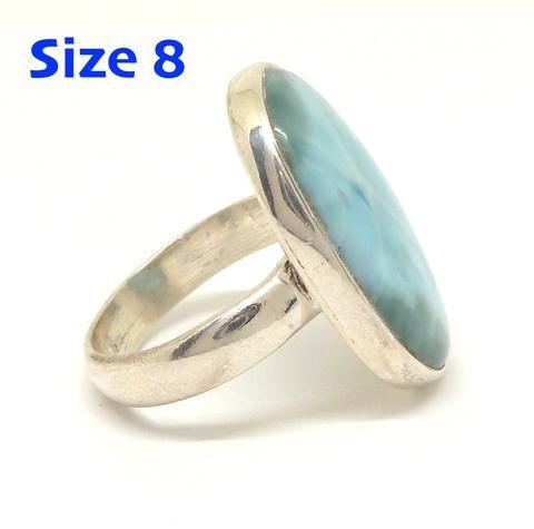 Larimar Ring 925 Sterling Silver   US Size 8   Dominican Republic Caribbean   Leo Stone   Pectolite   Crystal Heart Melbourne Australia since 1986