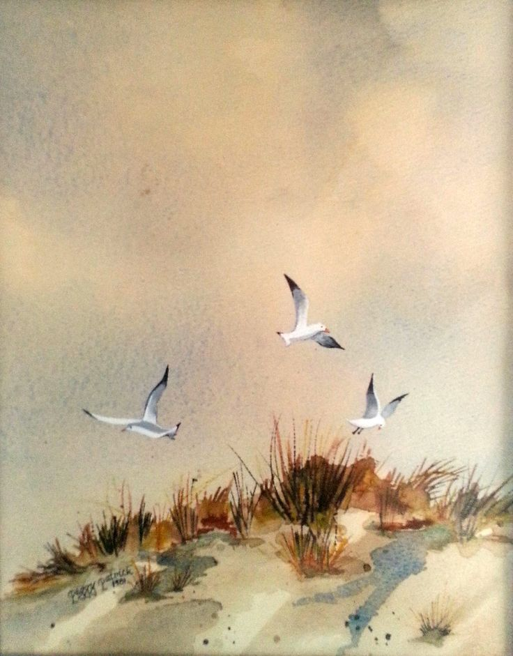 shoulder handbags Watercolor painting of seagulls over sand dune
