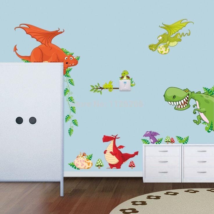 Детский Мультфильм Динозавр Стены Наклейки Wall Art Этикета Стикер для Декора детской Комнаты