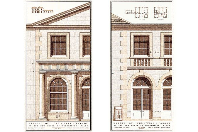 Beautiful classical drawings by George Saumarez Smith from the office Adam Architecture  depicting the facade of the New Palladian Villa on Wiltshire Farm. I wish I could draw my projects like this.