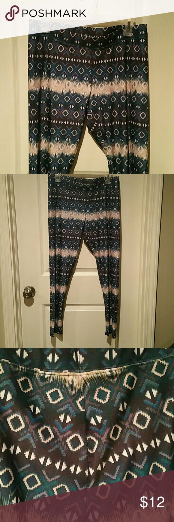 American Eagle Outfitters Leggings American Eagle multi colored leggings.  Tried on, never worn.  Size large.  Regular length, Not capri! American Eagle Outfitters Pants Leggings