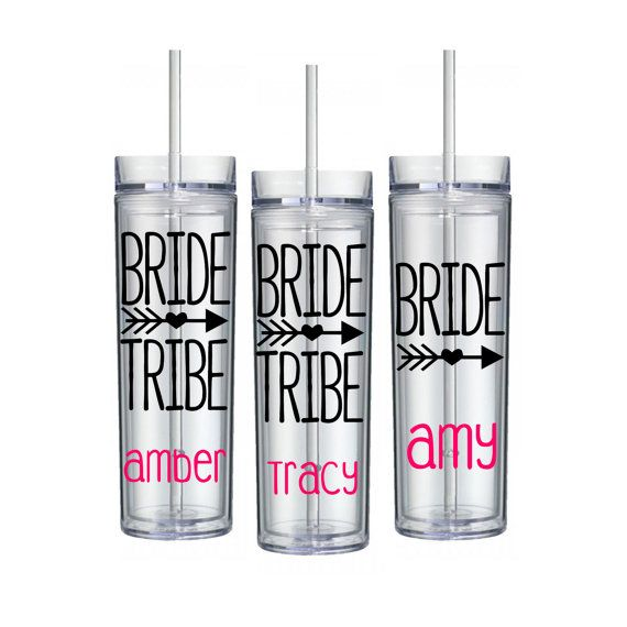 Bride tribe Tumbler 3 pack - Skinny tall acrylic travel cups with straw - Bachelorette party favor gift idea - bridesmaid gifts  -wedding ideas tribal arrow