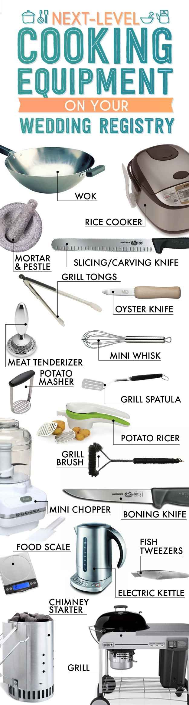 Kitchen equipment and their uses - The Essential Wedding Registry Checklist For Your Kitchen