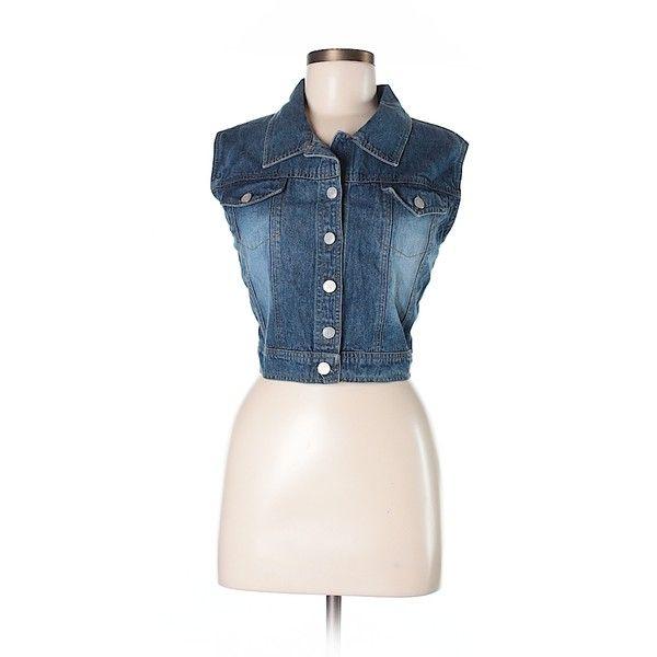 Pink Cattlelac Denim Vest ($12) ❤ liked on Polyvore featuring outerwear, vests, dark blue, dark blue vest, vest waistcoat, pink waistcoat, denim waistcoat and denim vests