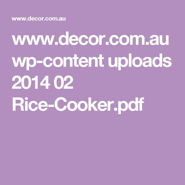 www.decor.com.au wp-content uploads 2014 02 Rice-Cooker.pdf