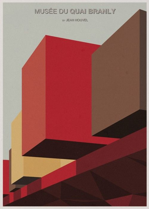 Architecture Illustrations by Andre Chiote - block colour. squares, rectangles, triangles.