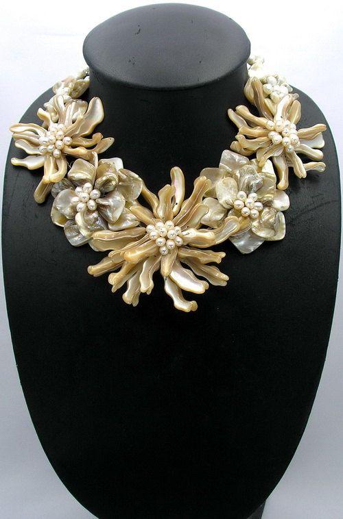 beadwork necklacebib necklacestatement by audreyjewelry on Etsy
