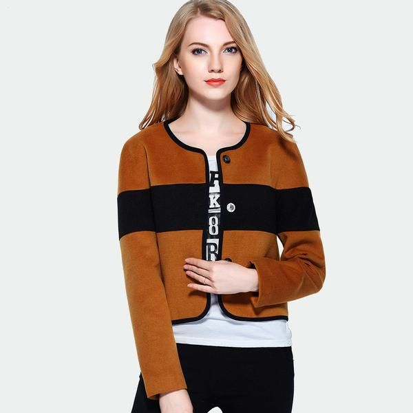 Luxe Euro Styling Two tone chic jacket  Round neck Button front Polyester Rayon Size Chart